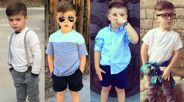 Ryker Wixom, bocah tampan asal Los Angeles ini doyan 'menjiplak' gaya artis dan model. (instagram.com/ministylehacker)
