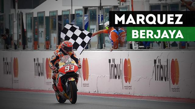 Berita video pebalap Repsol Honda, Marc Marqueez, menjuarai MotoGP San Marino 2017 dalam kondisi lintasan basah.