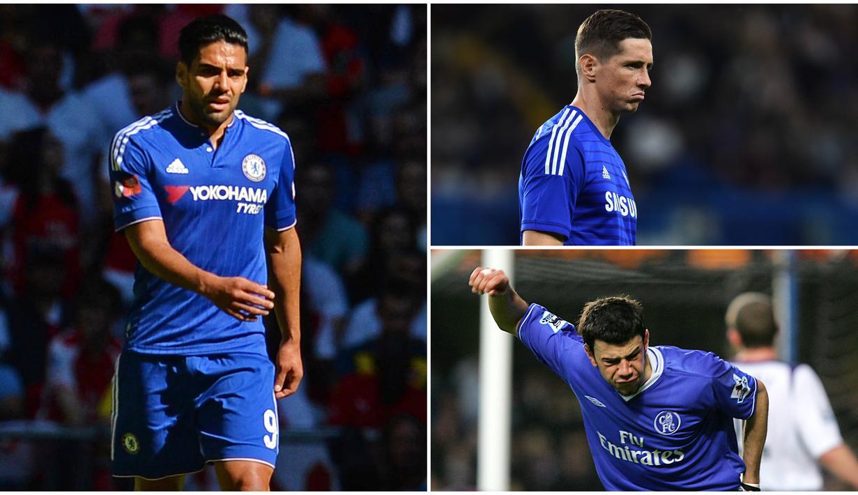 Berikut para pemain bintang yang mengalami penurunan performa ketika menggunakan nomor 9 di Chelsea. Diantaranya, Fernando Torres, Hernan Crespo dan Radamel Falcao. (Foto-foto Kolase AFP)