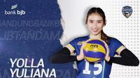 Middle Blocker Bandung Bank BJB Tandamata Yolla Yuliana di Proliga 2020. (foto:https://www.instagram.com/bandungbjbtandamata)