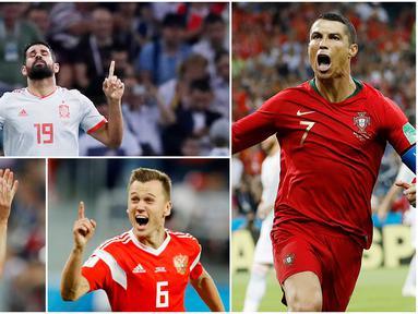 Berikut ini para pencetak gol terbanyak sementara pada ajang Piala Dunia 2018 di Rusia. Cristiano Ronaldo dan Denis Cheryshev berada di posisi teratas dengan koleksi tiga gol. (Foto-foto Kolase dari AP)
