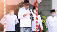 Menag Fachrul Razi memimpin upacara Peringatan Hari Santri di Kantor Kementerian Agama, Jakarta, Kamis (22/10/2020). (Foto: Humas Kemenag)