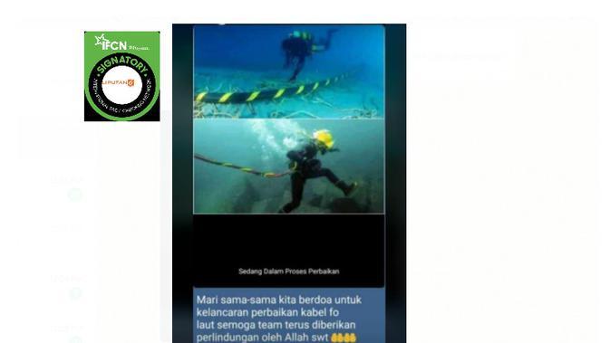 Cek Fakta Liputan6.com menelusuri klaim foto perbaikan kabel internet bawah laut IndiHome