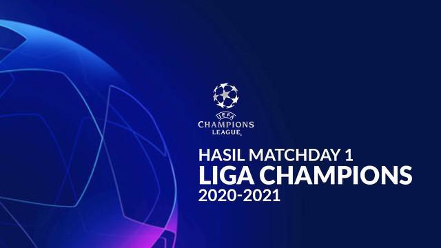 Berita motion grafis hasil Liga Champions 2020-2021 matchday pertama. Real Madird kalah, Bayern Munchen pester gol di kandang.