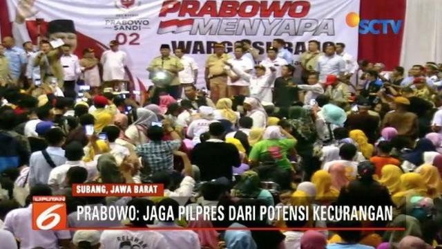 Kampanye di Subang, Jawa Barat, Prabowo Subianto mengajak seluruh pendukung menjaga Pemilu 2019 dari segala kecurangan.