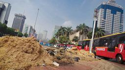 Tanaman disekitar Taman Silang Monas rusak parah akibat diinjak-injak sejumlah orang saat orasi, Kamis (21/8/14) kemarin. (Liputan6.com/Faizal Fanani)