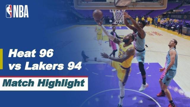 Berita video highlights NBA, LA Lakers dikalahkan oleh Miami Heat 94-96, Minggu (21/2/21)