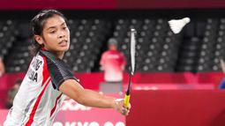 Jorji, sapaan akrabnya, menang dua gim langsung atas wakil Belgia, Lianne Tan, dengan skor 21-11, 21-17. (Foto: AP/Dita Alangkara)
