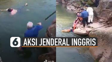 Beredar video aksi heroik yang dilakukan oleh Jenderal Inggris ketika menyelamatkan siswa yang tenggelam di sungai.