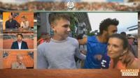 Petenis Prancis, Maxime Hamou saat mencium reporter televisi (Eurosport)