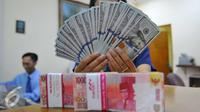 Rupiah pada saat istirahat siang ini tercatat melemah sebesar 162 poin atau turun tajam 1,24 persen ke kisaran Rp 13.246 per dolar AS, Jakarta, Rabu (9/11). (Liputan6.com/Angga Yuniar)