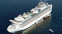 Kapal pesiar Diamond Princess berlabuh di lepas pantai Yokohama, Jepang, Rabu (5/2/2020). Kementerian Kesehatan Jepang mengonfirmasi 10 orang yang berada di kapal pesiar tersebut dinyatakan positif terinfeksi virus corona. (Hiroko Harima/Kyodo News via AP)