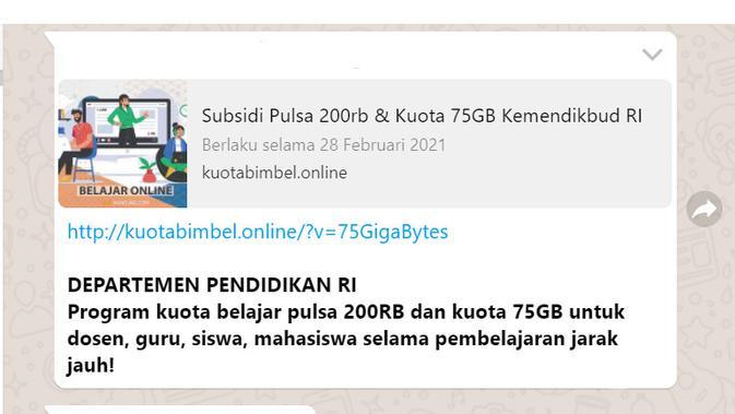 Informasi pendaftaran subsidi pulsa Rp 200 ribu dan kuota 35 GB untuk belajar jarak jauh dari Kemendikbud