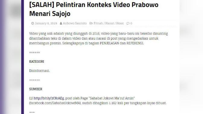 [Cek Fakta] Viral Prabowo Subianto Menari Sajojo, Benarkah?