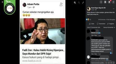 Gambar Tangkapan Layar Kabar Hoaks Fadli Zon akan Mundur dari DPR Jika Rizieq Shihab Dipenjara (sumber: Facebook).