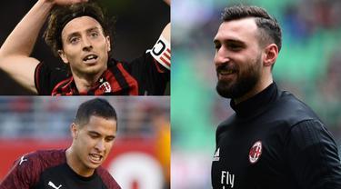 AC Milan diprediksi akan melakukan perombakan yang cukup signifikan musim depan. Nama-nama besar sudah dipastikan angkat kaki dari San Siro demi memperbaiki performa skuat dan neraca keuangan klub. (Kolase Foto AFP)