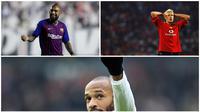 Arturo Vidal (kiri atas), Alan Smith (kanan atas), dan Thierry Henry. (AP/AFP)