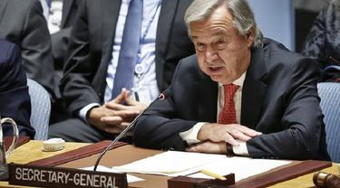 Sekjen PBB Antonio Guterres berbicara di hadapan DK PBB (AP)