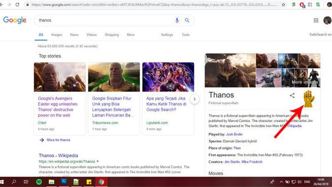 Klik ikon Infinity Gauntlet di Google Search. (Doc: Google)