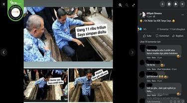 Gambar Tangkapan Layar Foto yang Diklaim Jokowi Simpan Uang Rp 11 Ribu Triliun di Gorong-Gorong (sumber: Facebook).