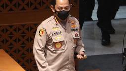 Calon Kapolri Komjen Pol Listyo Sigit Prabowo saat menghadiri Sidang Paripurna di Kompleks Parlemen, Jakarta, Kamis (21/1/2020). DPR menyepakati penetapan Listyo sebagai Kapolri setelah melalui uji kepatutan dan kelayakan Komisi III DPR. (Liputan6.com/Angga Yuniar)