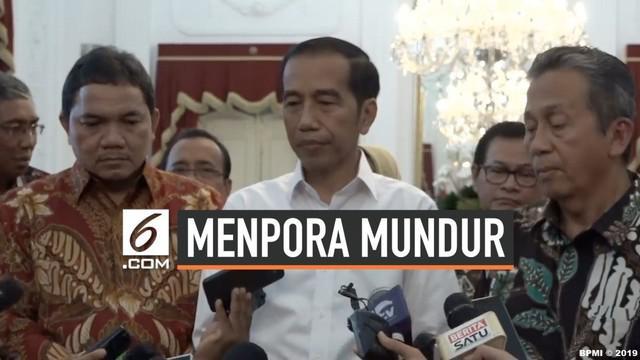 Presiden Jokowi telah menerima pengunduran diri Menteri Pemuda dan Olahraga Imam Nahrawi yang ditetapkan KPK menjadi tersangka.