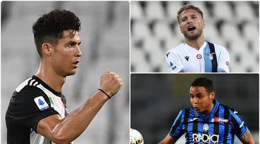 Cristiano Ronaldo menempel ketat posisi Ciro Immobile dalam daftar top skor sementara di Serie A Liga Italia 2019-2020. Ronaldo yang berada di posisi kedua hanya tertinggal satu gol oleh Immobile di puncak top skor. (kolase foto AFP)