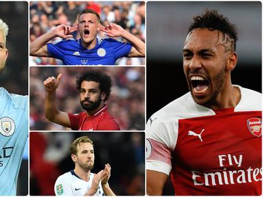 Produktivitas dan ketajaman pemain Premier League musim 2019-2020 menjadi hal yang menarik untuk disimak. Berikut 5 pemain yang berpotensi menyabet gelar top scorer Premier League musim ini. (Kolase foto AFP)