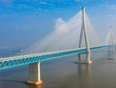 FOTO: Kemegahan Jembatan Penghubung Nantong dan Zhangjiagang