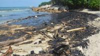 Limbah hitam di pantai Lagoi, Bintan, yang menerpa pantai beberapa hari terakhir (Foto: Batamnews)