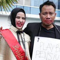 Pasangan Vicky Prasetyo dan Anggel Lelga baru saja menggelar acara Bridal Shower. Keduanya melakukan di salah satu Hotel di kawasan Jakarta Timur, Kamis siang (25/1/2018). (Deki Prayoga/Bintang.com)