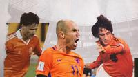 Marco van Basten, Johan Cruyff dan Arjen Robben. (Bola.com/Dody Iryawan)