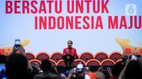 """Presiden Joko Widodo (Jokowi) memberi sambutan saat menghadiri Perayaan Imlek Nasional 2020 di ICE BSD Tangerang Selatan, Kamis (30/1/2020). Perayaan Imlek Nasional 2020 mengangkat tema """"Bersatu untuk Indonesia Maju"""". (Liputan6.com/Faizal Fanani)"""