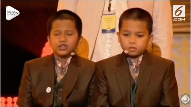 Dua bocah penghapal Al-qur'an tampil di acara MTQ Internasional Moskow, Rusia.