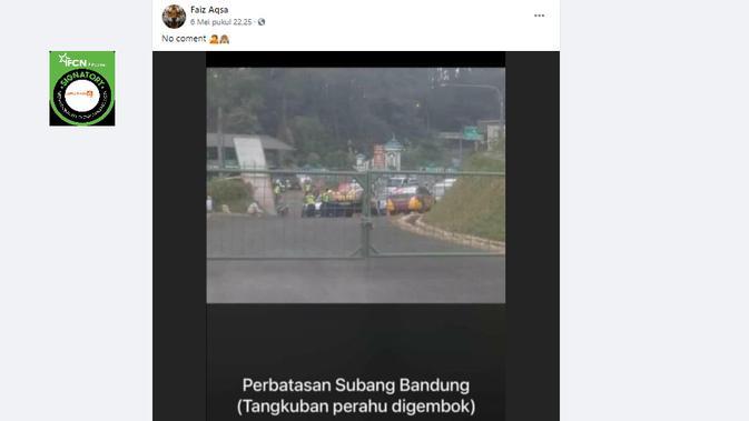 Cek Fakta Liputan6.com menelusuri klaim foto jalan perbatasan Subang Bandung ditutup pagar dan digembok