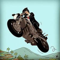 Deddy Corbuzier mengunggah karikatur orang yang sedang menunggang sepeda motor (Instagram/@mastercorbuzier)