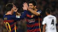 Dua bintang Barcelona, Lionel Messi (kiri) dan Luis Suarez (kanan). (AFP/Lluis Gene)