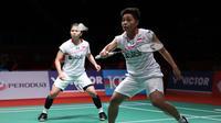 Ganda putri Indonesia Greysia Polii / Apriyani lolos ke perempat final Malaysia Masters yang berlangsung di Axiata Arena, Kuala Lumpur, Malaysia, Kamis (9/1/2020). (foto: PBSI)