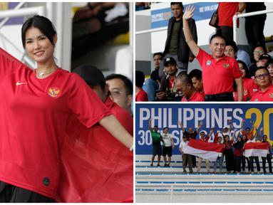 Mulai dari Ketua Umum PSSI, Mochamad Iriawan atau Iwan Bule hingga Maria Ozawa atau Miyabi datang mendukung Timnas Indonesia U-22 melawan Thailand pada laga perdana SEA Games 2019 Manila. (Bola.com/M Iqbal Ichsan)