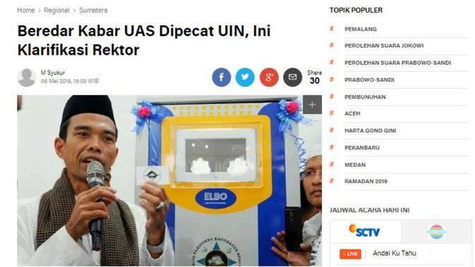 [Cek Fakta] Viral Foto Surat Pemecatan UAS dari Dosen UIN Suska Riau, Benarkah?