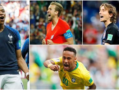 Berikut ini tujuh bintang Piala Dunia 2018 yang bisa merusak dominasi Cristiano Ronaldo dan Lionel Messi di Ballon d'Or tahun ini. Dua diantaranya adalah Harry Kane dan Neymar. (Foto-foto Kolase AP)