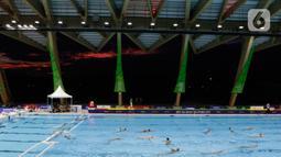 Suasana laga antara Indonesia melawan Malaysia pada cabang polo air putra SEA Games 2019 di Aquatic Center, Clark, Filipina, Jumat (29/11/2019). Indonesia berhasil meraih emas perdana dari cabang polo air. (Bola.com/M Iqbal Ichsan)