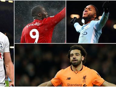 Berikut ini top scorer sementara Premier League musim 2017/2018 hingga pekan ke-19. Hattrick Harry Kane ke gawang Burnley FC membuatnya kembali bersaing dengan Mohamed Salah yang sama-sama mengoleksi 15 gol. (Kolase foto-foto AP dan AFP)