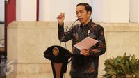 Presiden Jokowi memberi pidato saat merayakan Hari Musik Nasional 2017 di Istana Negara, Jakarta, Kamis (9/3). (Liputan6.com/Angga Yuniar)