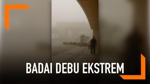 Badai debu ekstrem membahayakan warga Nevada, AS. Kondisi ini sebabkan jarak panda menjadi sempit dan udara menjadi kotor.