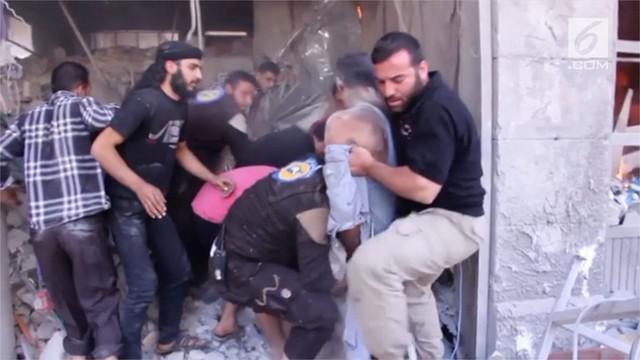 Serangan di pasar kota Maaret Al-Numan menewaskan 11 orang, 2 diantaranya adalah anak-anak.