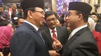 Basuki Tjahaja Purnama atau Ahok bertemu saat pelantikan anggota DPRD DKI Jakarta, Senin (26/8/2019)