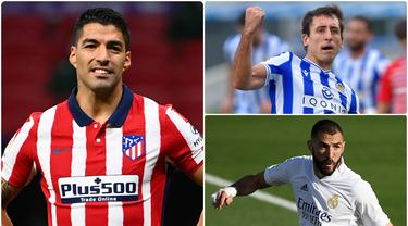 Nama Lionel Messi tidak masuk dalam daftar top skor sementara Liga Spanyol 2020/2021 di awal musim ini. Striker Real Sociedad, Mikel Oyarzabal, justru berstatus top skor sementara Liga Spanyol yang diikuti dengan Luis Suarez. Berikut top skor sementara Liga Spanyol. (kolase foto AFP)