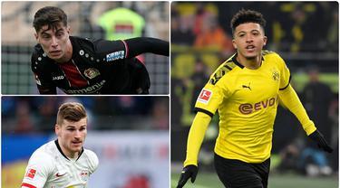 Jadon Sancho menjadi salah satu pemain Bundesliga dengan harga pasar termahal jika ingin dibeli oleh klub lain pada saat ini. Pemain berusia 20 tahun ini memiliki value harga mencapai 117 juta euro. Berikut Jadon Sancho dan 5 pemain termahal di Bundesliga. (kolase foto AFP)