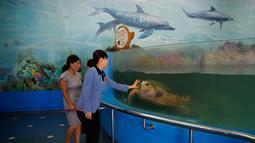 Pengunjung melihat penyu laut di Kebun Binatang di Pyongyang, Korea Utara (15/9). Kebun binatang ini didirikan pada April 1959 atas instruksi Kim Il-sung. (AP Photo/Kin Cheung)